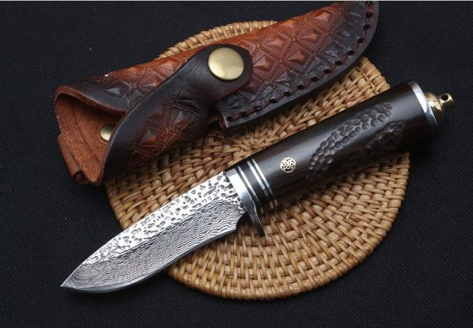 TRSKT Damaskus Sammlung Messer, Stahl + Ebenholz Griff, 60Hrc, Mit Leder Mantel, jagd Überleben Outdoor Messer Camping werkzeug