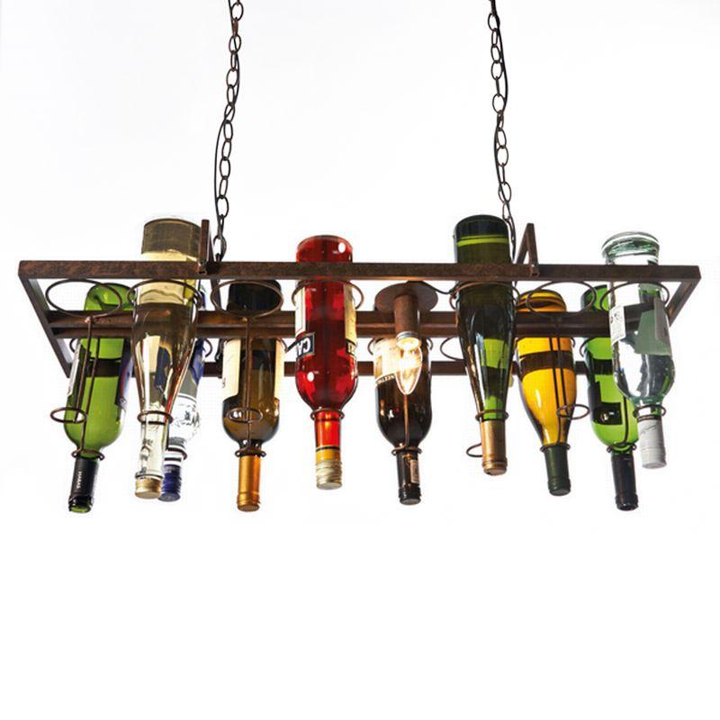 Recyclé rétro suspension bouteille de vin vintage fer pendentif lampe E27 suspension luminaires pour salon bar cuisine chambre