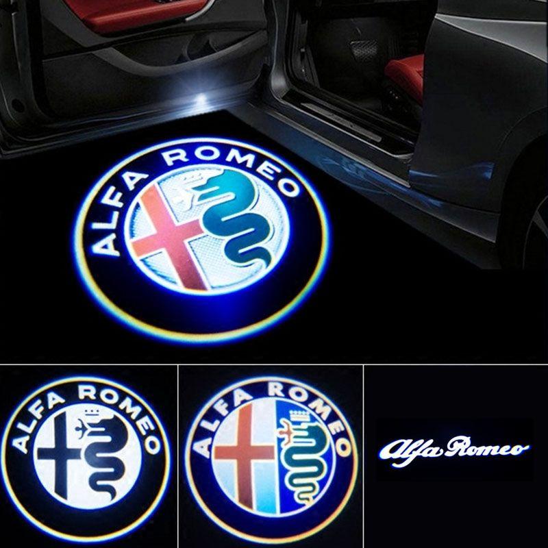 2 pièces nouveau projecteur de Logo de lumière de bienvenue de porte de voiture de LED de mode pour Alfa Romeo Giulia Giulietta Mito Stelvio Brera 147 156 159