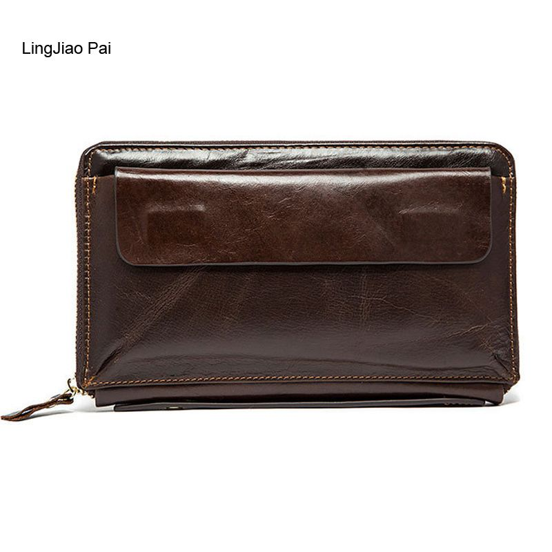 LingJiao Pai Long Men Wallet Male Leather Travel Credit Card Wallet Zipper Cell Phone Pocket Handbag