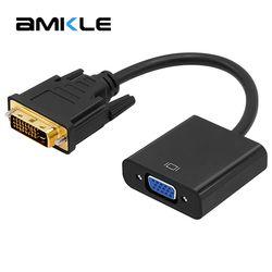 Amkle DVI ke VGA Adapter Kabel 1080 P Kabel DVI-D untuk VGA 24 + 1 25 Pin DVI Pria 15 Pin VGA Female Video Converter untuk PC Display