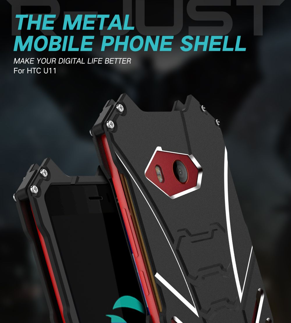 R-JUST Luxury Armor Heavy Duty Batman cover For HTC U11 case funda Metal Aluminum Coque Mobile Phone Cases For HTC U ULTRA Case