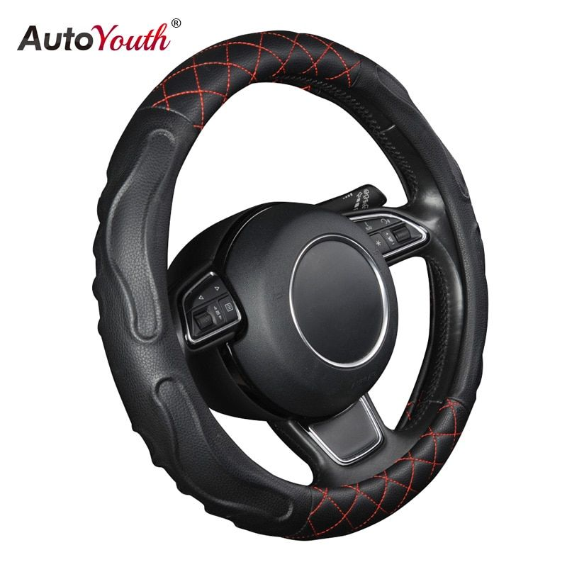 Fashion Style Car Steering Wheel Covers Comfortable and Non Slip Lychee Pattern PU Leather Steering Wheel Accessories Odorless