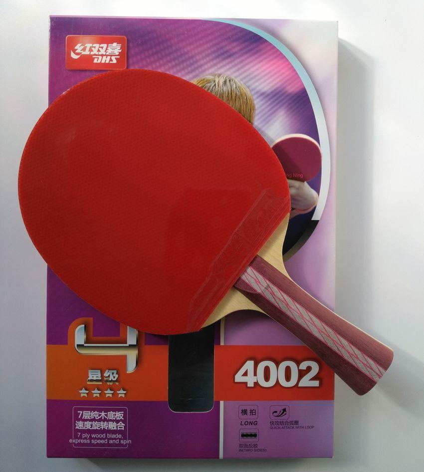 Raquette de ping-pong DHS 4002 4006 originale avec picots 4 étoiles en caoutchouc boucle d'attaque rapide DHS raquette sport palettes de ping-pong