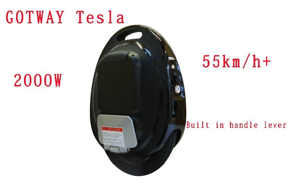 GotWay Tesla 16 pouces 84 V Haute performance électrique monocycle 2000 W moteur, vitesse max 50 km/h + batterie 425/850/1020WH, life40-100km APP