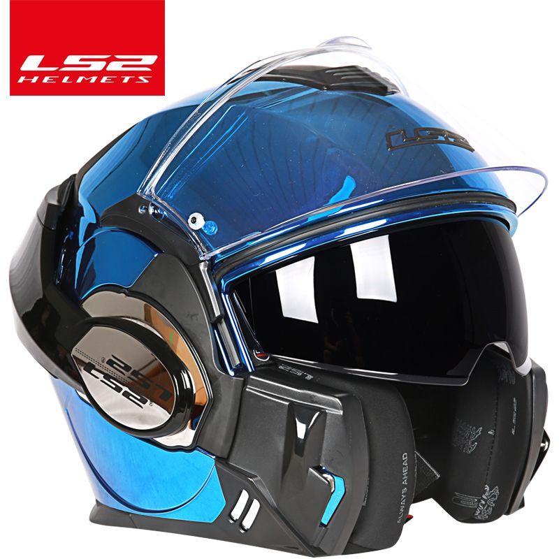 2017 neue LS2 FF399 Flip up helm doppel linse motorrad helm zurück somersault helm