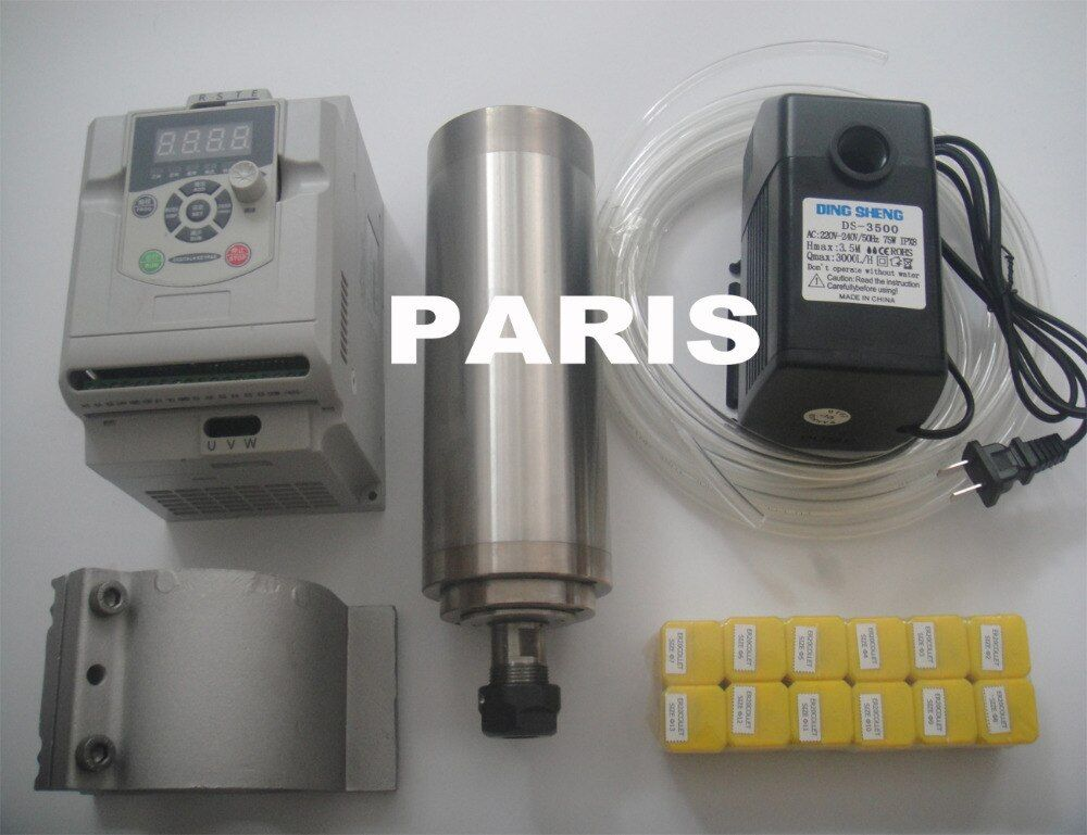CNC spindle kit ER20 2.2KW water cooling spindle+ spindle support + ER20 collets+ 2.2KW inverter+1 water pump+1 water pipe