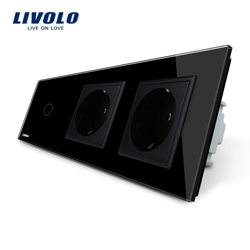 Livolo New Power Socket, AC 220~250V,Black Crystal Glass Panel, 2Gang Wall Sockets with Touch Switch VL-C701-12/VL-C7C2EU-12