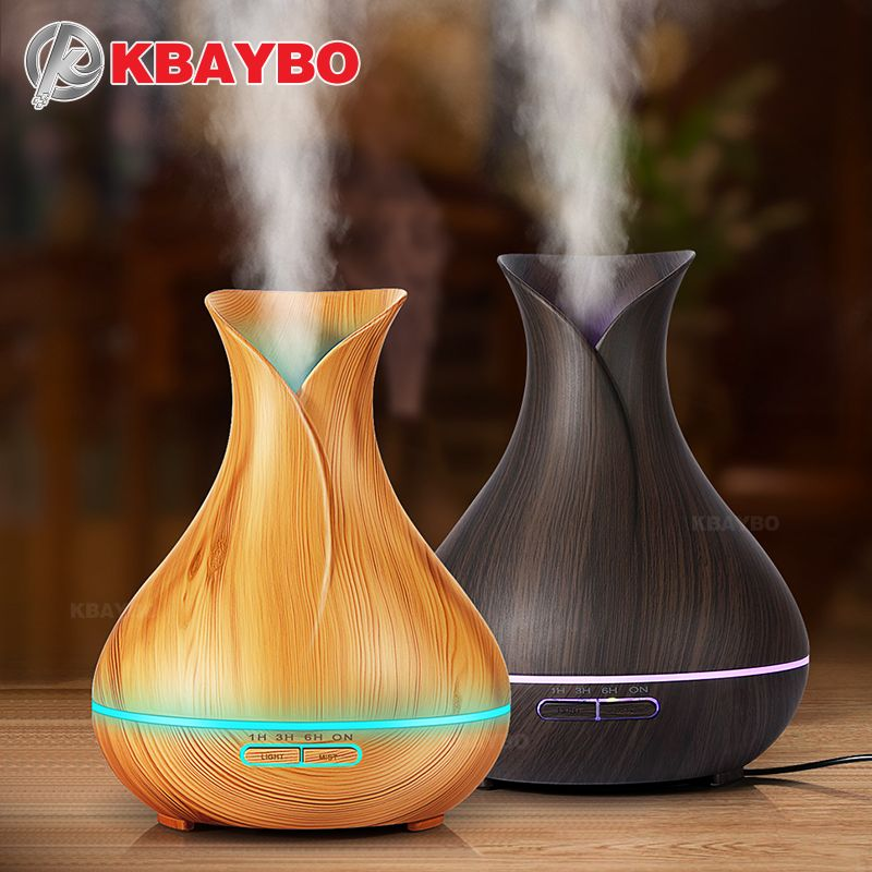 Aroma Essential Oil Diffuser Ultrasonic Air Humidifier with Wood Grain 7 Color Changing LED Lights for Office Home 400ml
