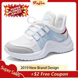 Fujin/2019 женские кроссовки из дышащей сетки; Повседневная обувь; женские модные кроссовки на шнуровке; женская Вулканизированная обувь на пла...
