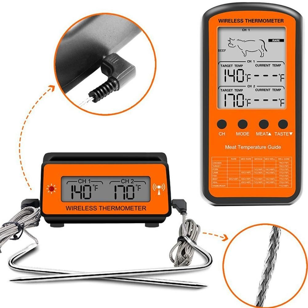 AsyPets Wireless Remote BBQ Thermometer Dual Probe Digital Cooking Meat Food Oven Thermometer for Grilling Smoker BBQ -30