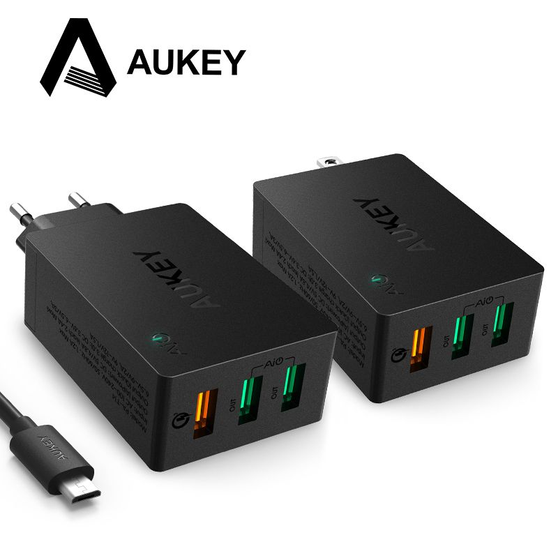AUKEY USB Charger Quick Charge 3.0 3-<font><b>Port</b></font> USB Wall Charger for LG G5 Samsung Galaxy S7/S6/Edge Nexus 6P/5X iPhone iPad & More