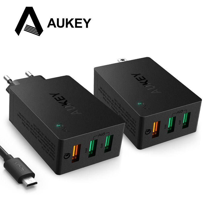 AUKEY USB Chargeur Charge Rapide 3.0 3-Port USB Mur Chargeur pour LG G5 Samsung Galaxy S7/S6/Bord Nexus 6 P/5X iPhone iPad et Plus
