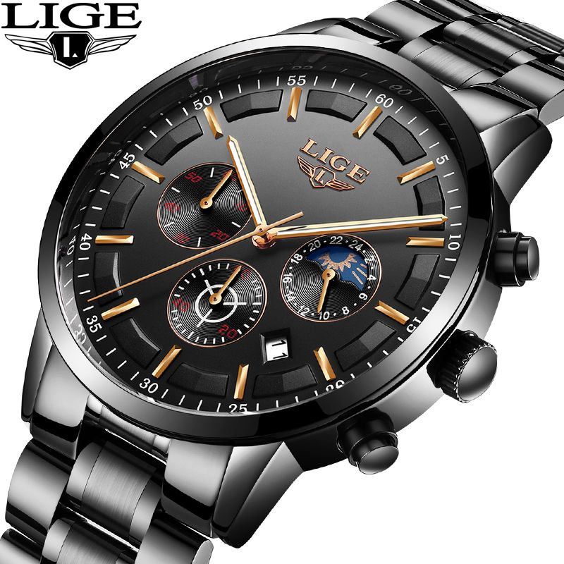 LIGE Watch Mens Sports Waterproof Top Luxury Brand Quartz Clock Business Fashion Full Steel Mens Watches Relogio Masculino+Box