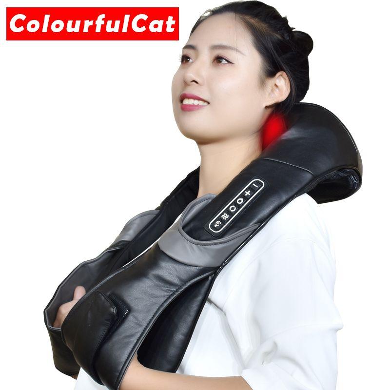 Masseur électrique de rouleau de cou pour le mal de dos Shiatsu lampe infrarouge oreiller de Massage Gua Sha produits corps soins de santé Relaxation