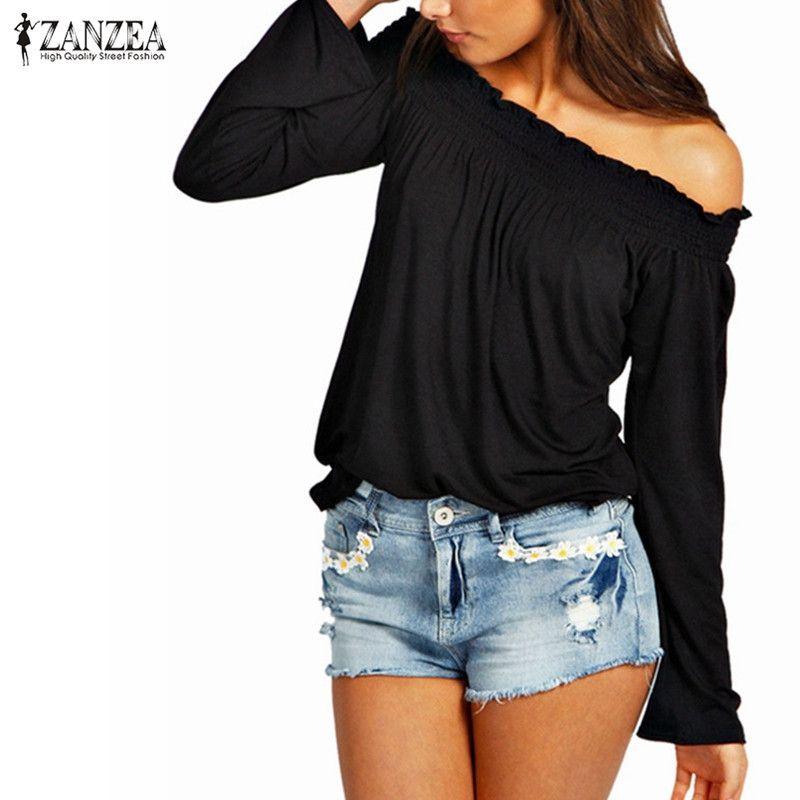 ZANZEA été Blusas Femininas 2019 automne Sexy femmes Blouse dames tunique froncé hors épaule hauts décontracté manches longues