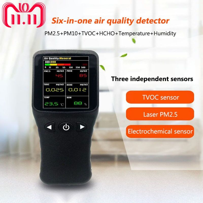 6 in 1 PM2.5 PM10 HCHO TVOC Detector Thermometer Hygrometer Formaldehyde Multi Gas Analyzer with Temperature Humidity Meter