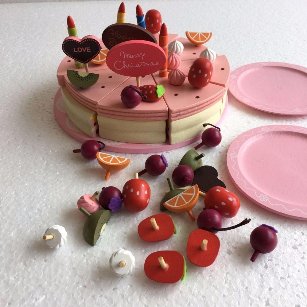 Bébé Jouet Décoration Gâteau Ensemble Jeu de Nourriture En Bois Enfants Semblant Jouer À la Cuisine Jouets fille anniversaire/cadeau de noël