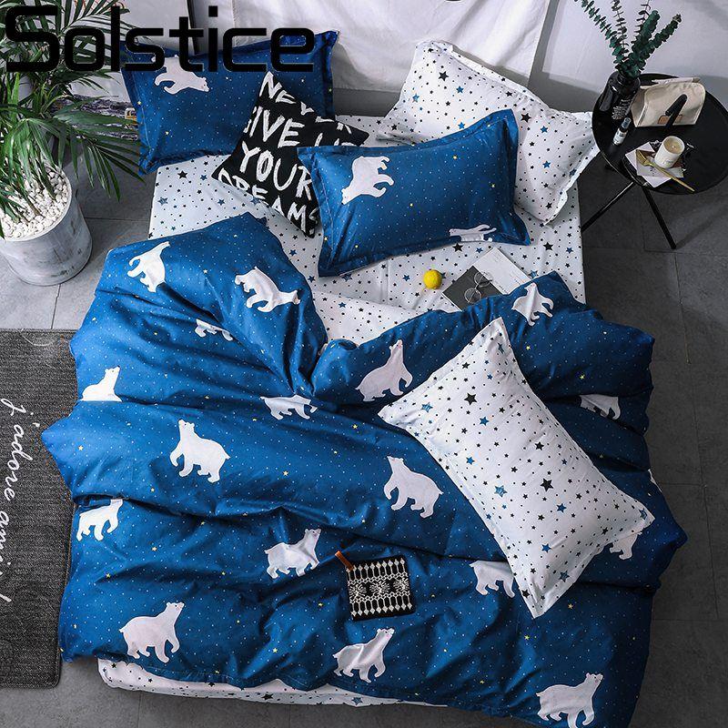 Solstice maison Textile dessin animé ours polaire ensembles de literie enfants literie linge de lit housse de couette drap de lit taie d'oreiller/ensembles de lit
