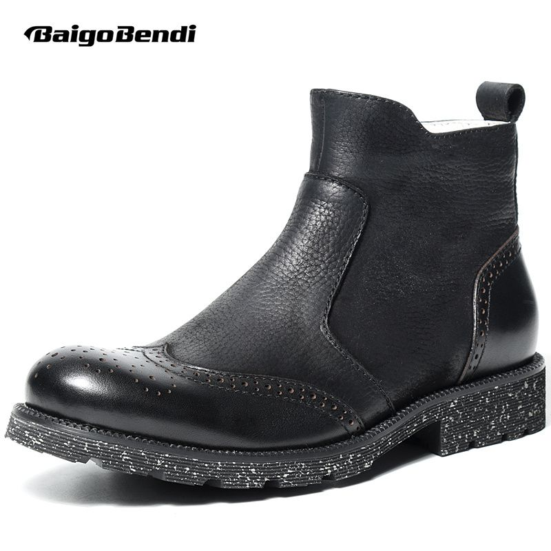 Топ! Мужские Сапоги Челси из натуральной кожи Мода крыла Советы Обувь с перфорацией типа «броги» Man Zip Сапоги для верховой езды зимняя обувь