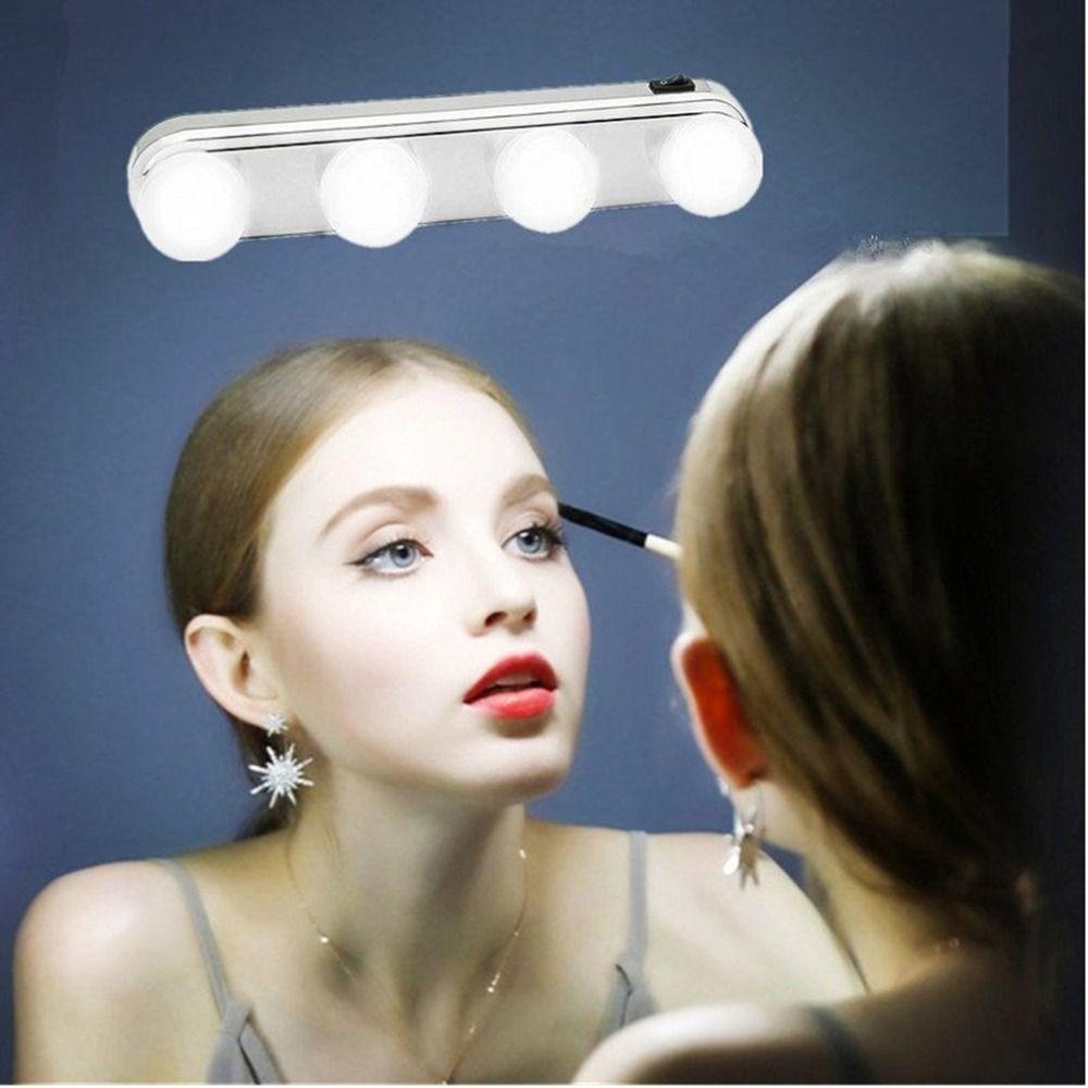 4 birne Spiegel Scheinwerfer Machen Up Licht Super Helle Led-lampen Tragbare Kosmetik Spiegel Licht Kit Batterie Powered Make-Up Licht