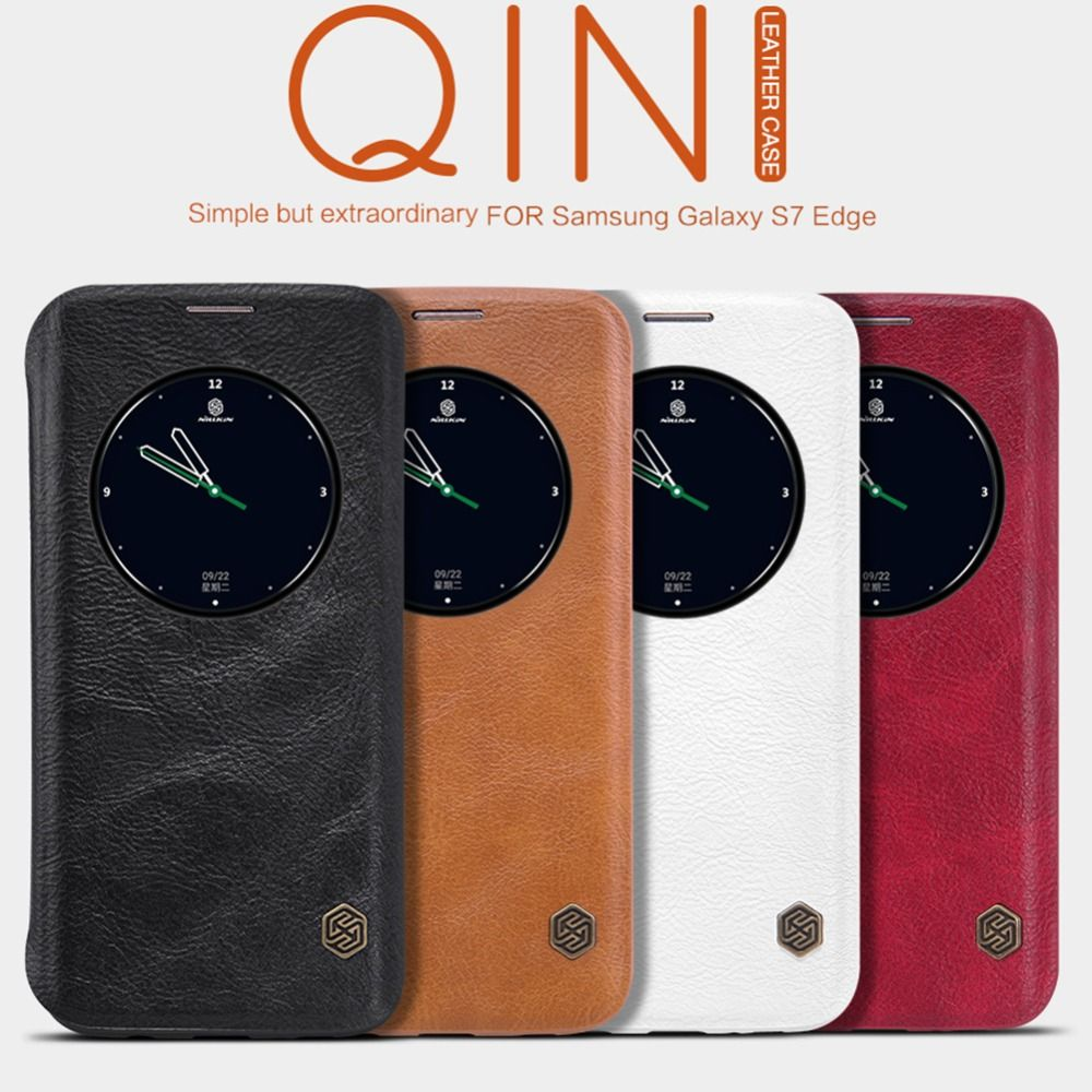 Original Nillkin Qin Série Téléphone portable En Cuir Cas pour Samsung Galaxy S7 Bord De Luxe Flip avec Smart Windows Vue Funda