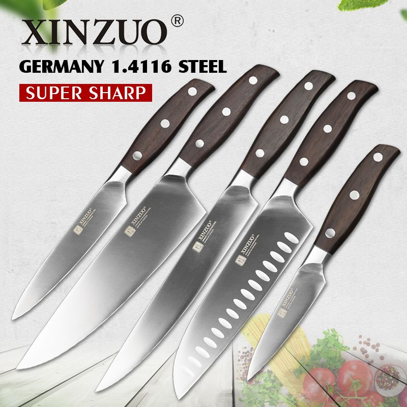 XINZUO High Quality 3.5+5+8+8+8inch Paring Utility Cleaver Chef Bread Knife Germany 1.4116 Stainless Steel Kitchen Knife Sets