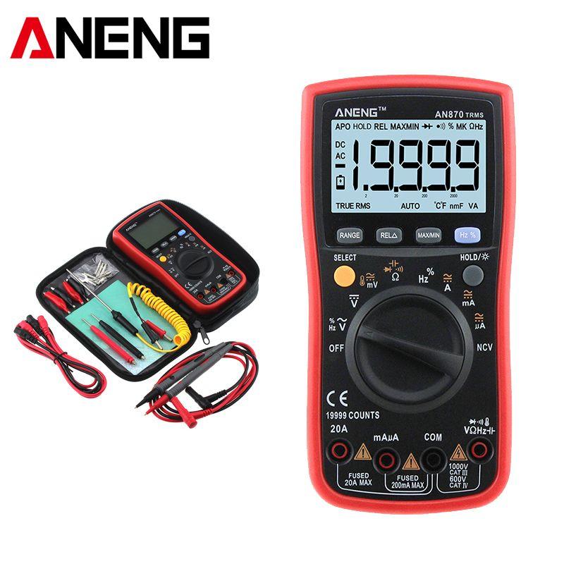 AN870 Auto Range Digital Multimeter True RMS NCV Ohm Meter AC DC Voltage Ammeter Voltmeter Transistor Tester Lead Probe