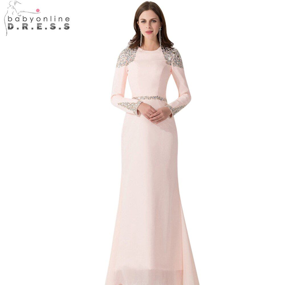 Pink Evening Dress 2015 Stain Dressed Longos Scoop Vestido Formatura Sexy Long Sleeves With Beading Prom dress Custom Made