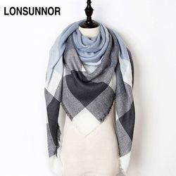 Nueva moda de invierno bufanda mujeres 2018 triángulo caliente Plaid bufanda lujo marca señoras Cachemira bufandas y chales envío de la gota