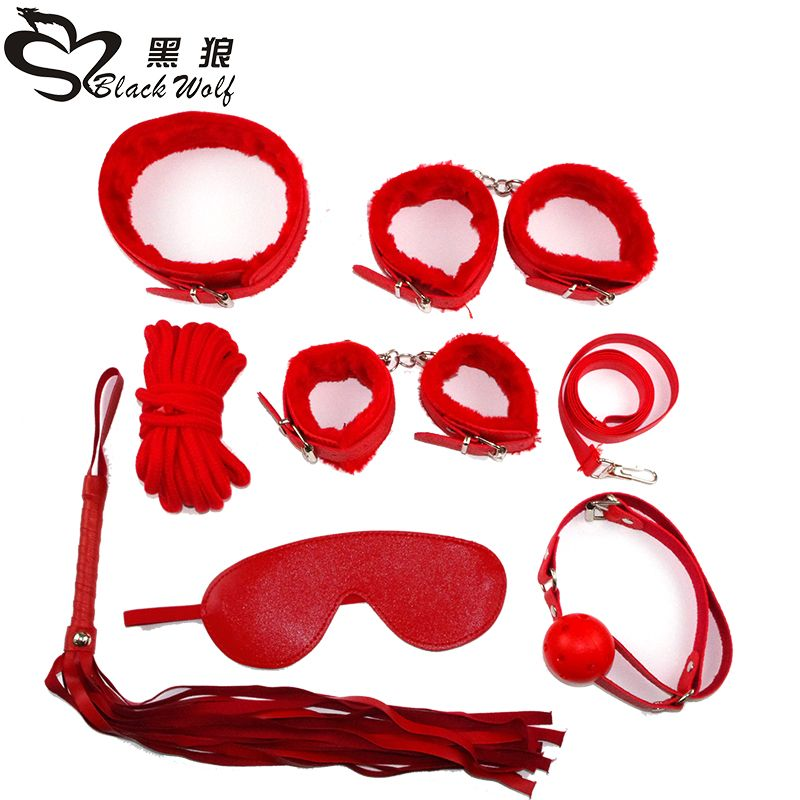 erotic adult sex products 7 games leather handcuffs whip rope slavery Mask BDSM fetish sex toy <font><b>lovers</b></font> of slavery constraint