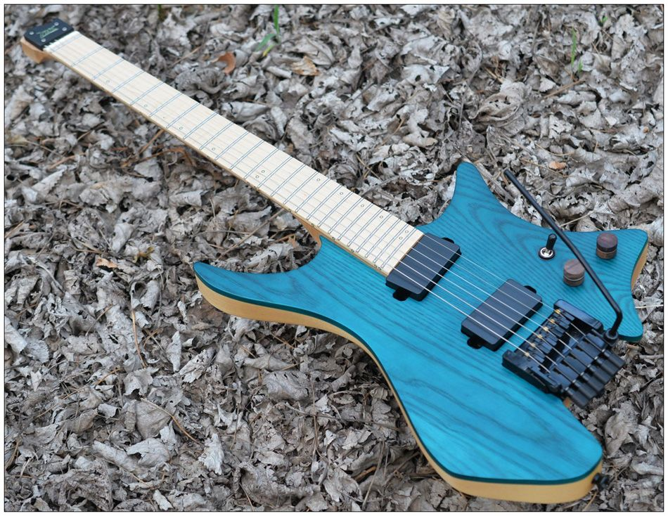 Fanned Fret guitars Headless guitar steinberger style Model Blue ASH wood Color Flame maple Neck in stock Guitar free shipping