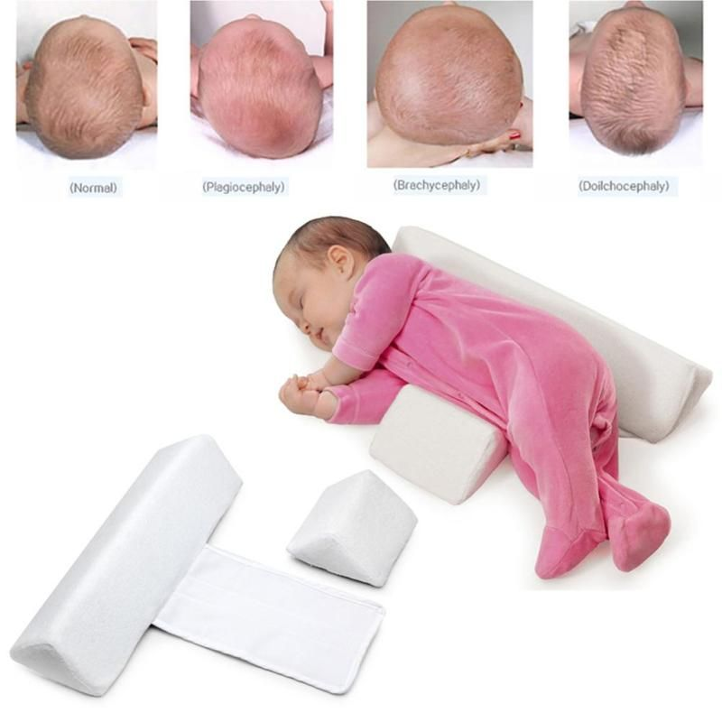 High quality pillow Newborn Baby Infant Sleep Positioner Prevent Flat Head Shape Anti Roll Pillow 2017 XV2