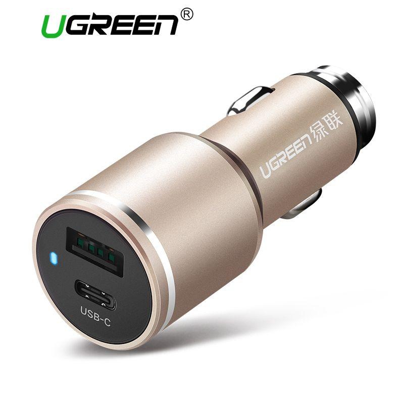 Ugreen Универсальный двойной USB c автомобиля Зарядное устройство Smart Тип c автомобиля-Зарядное устройство быстрый мобильный телефон путешестви...