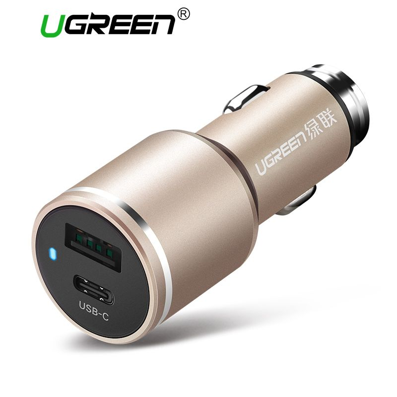 Ugreen Universal Dual USB C Car Charger Smart Type C Car-Charger Fast Mobile Phone Travel Charger For iPhone 8 LG Samsung Xiaomi
