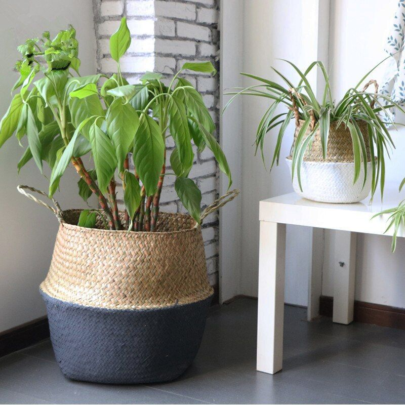 Handmade Bamboo Storage Baskets Foldable Laundry Straw Patchwork Wicker Rattan Seagrass Belly Garden Flower Pot Planter Basket