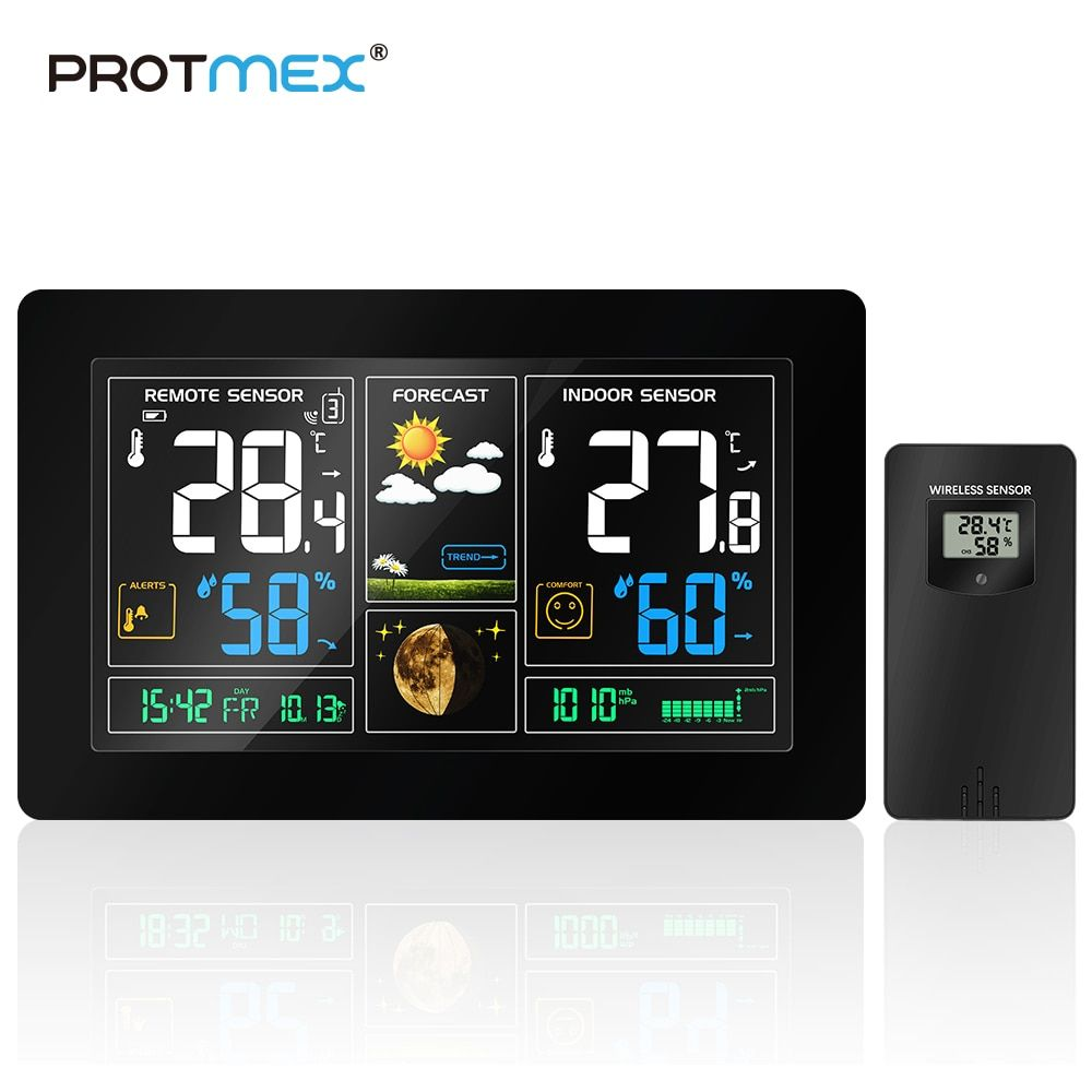 PROTMEX EU Plug Wireless Weather Station Temperature Humidity Sensor Colorful LCD Display Weather Forecast RCC Clock In/outdoor