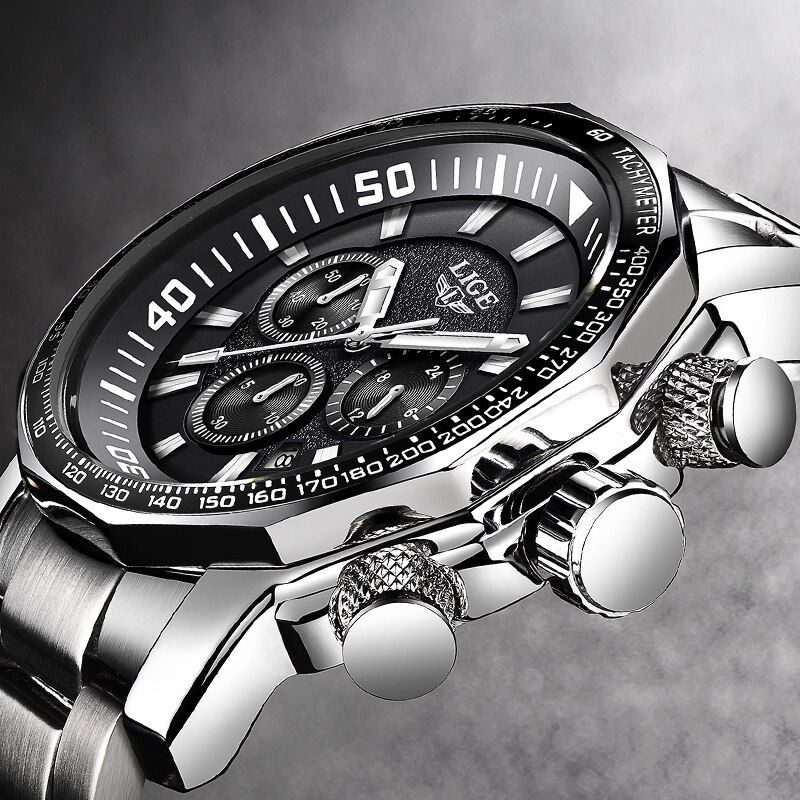 Relogio Masculino Men Watch LIGE Top Brand Luxury Fashion Quartz Clock Men's Business Waterproof Big Dial Military Sport Watches