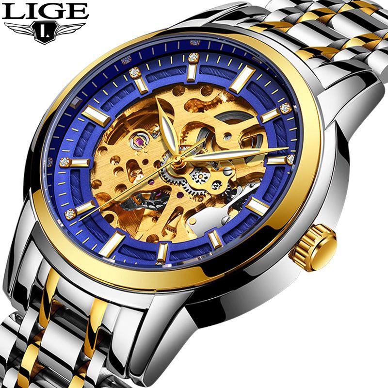 LIGE Automatic machinery Skeleton Mens Watches Luxury Fashion Business Gold Watch Men Sport Waterproof Clock Relogios masculinos