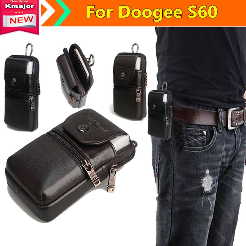 Genuine Leather Carry Belt Clip Pouch Waist Purse Case Cover for Doogee S60 5.2inch Waterproof SmartPhone Free Drop Shipping