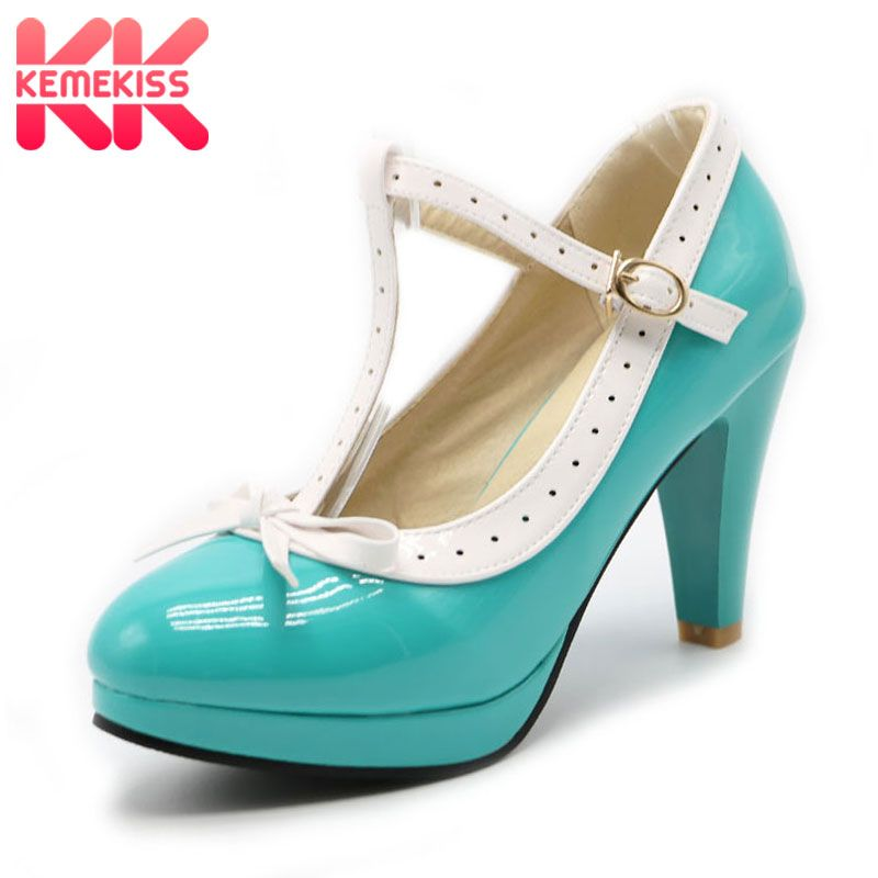 KemeKiss Size 32-48 Women High Heels Shoes Bow T Strap Pumps Summer Shoes Women Office Lady Platform Daily Dress Party Footwear