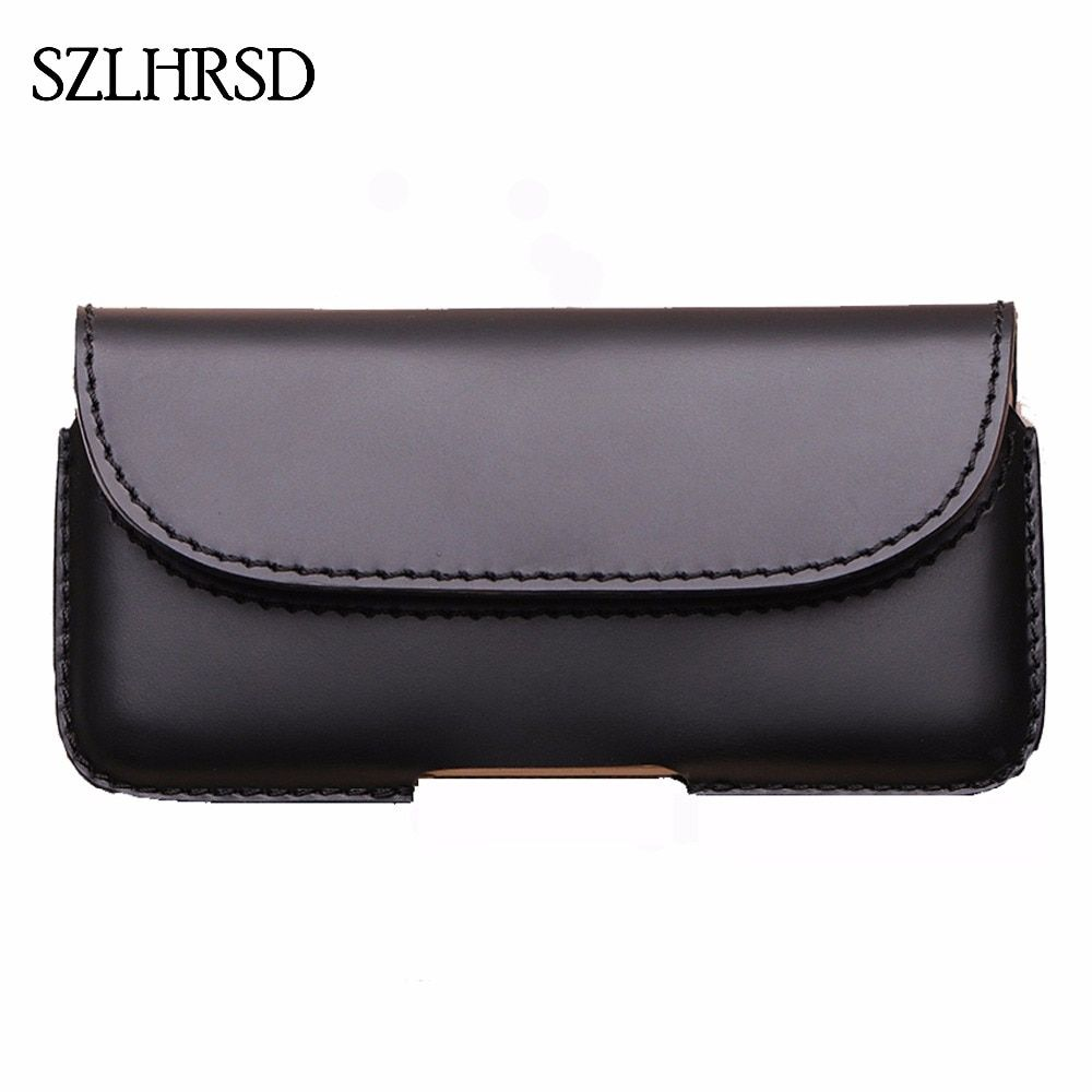 SZLHRSD Men Belt Clip Genuine Leather Pouch Waist Bag For Galaxy S9 Phone Cover for Samsung Galaxy S9 PLUS Cases Black