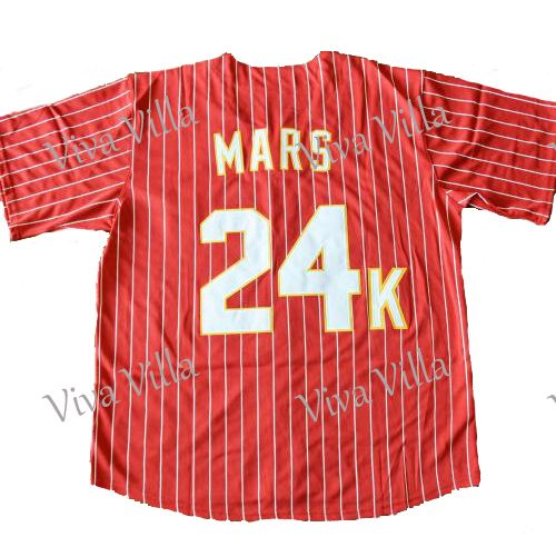 Bruno Mars 24 К хулиганы Бейсбол Джерси прошитой Возврат Майки Спортивные Бесплатная доставка