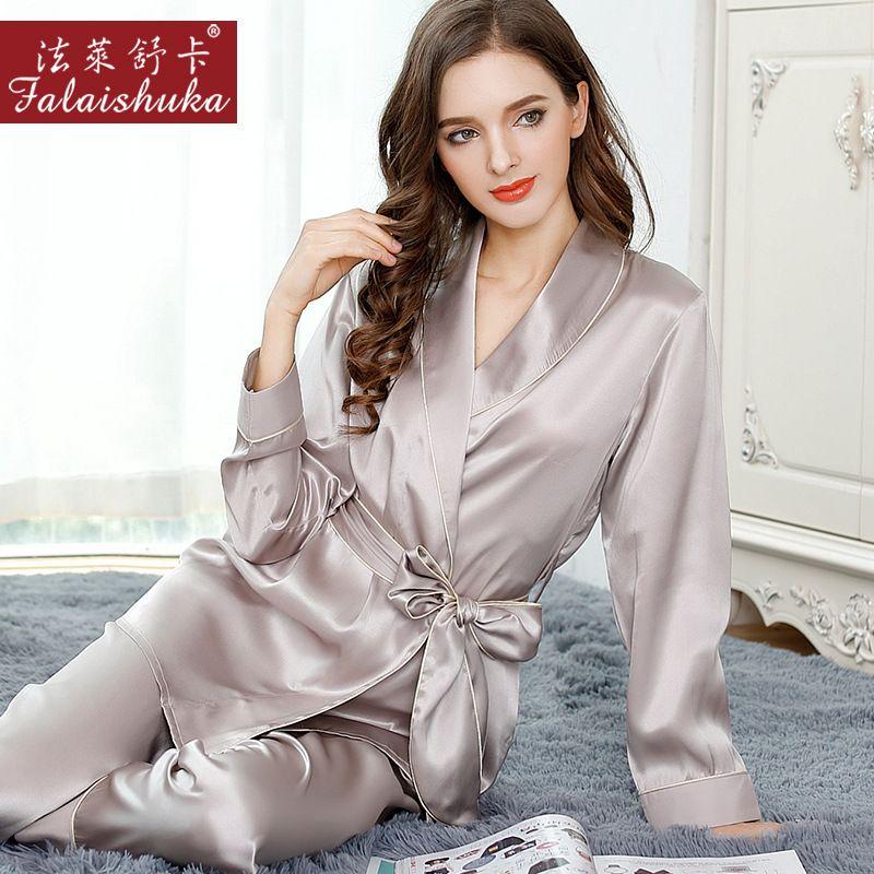 Sexy Silk Pajamas Female Autumn 100% Natural Silk Long-Sleeved Pajama Pants Sets Sweet Lace Elegant Lady Sleepwear T8010