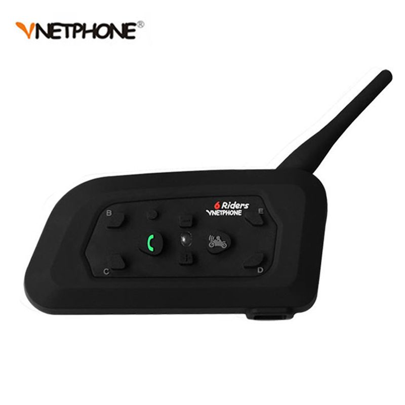 1200M Wireless Bluetooth Motorcycle Helmet Intercom 6 Riders Interphone Headset Support Mp3 Music GPS 1pcs Intercomunicador Moto