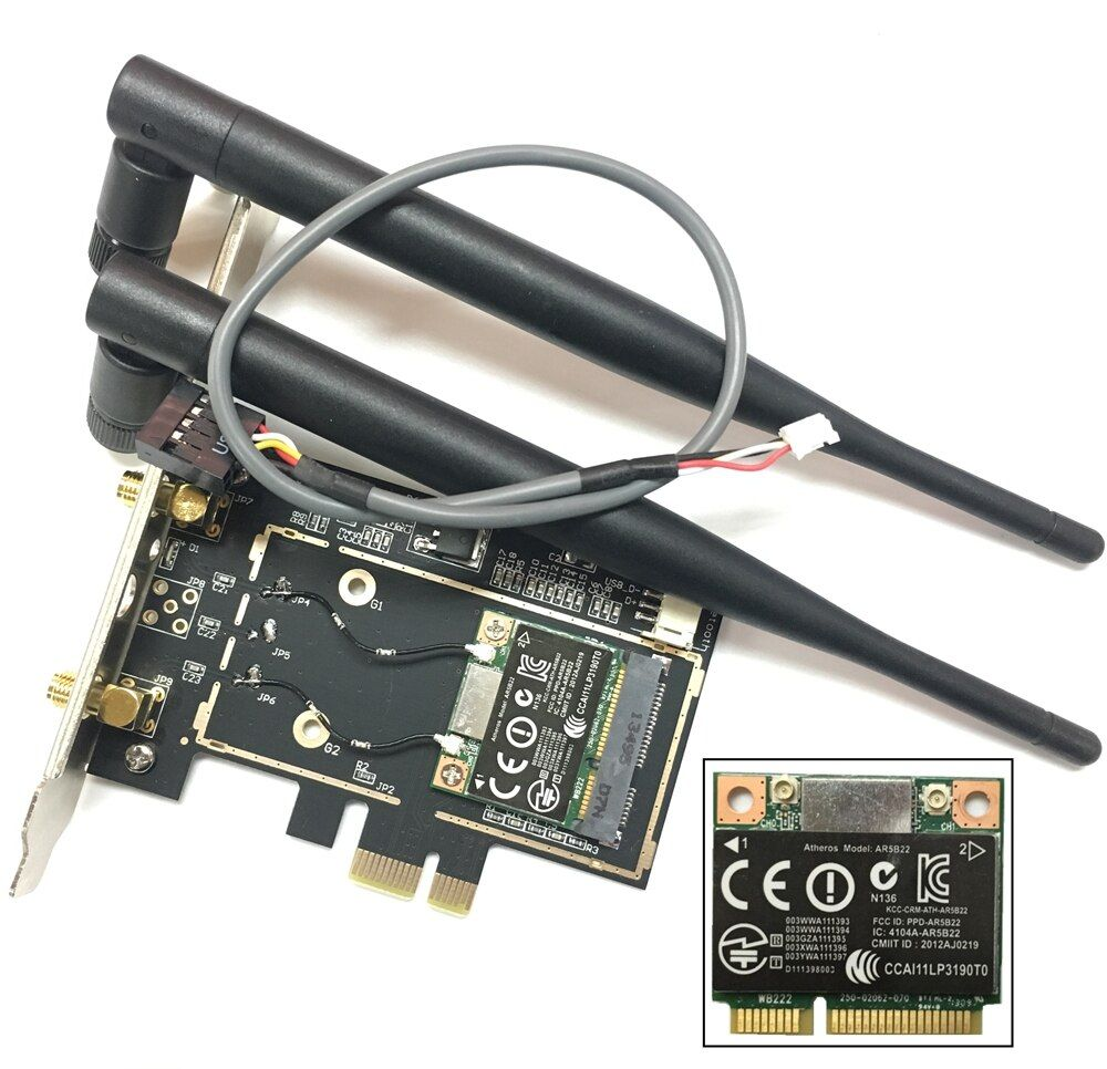 Atheros AR5B22 Bluetooth 4.0 wifi 300 Mbps Carte De Bureau Mini PCIe PCIe Adaptateur De Bureau avec 2 pièces Antenne carte réseau