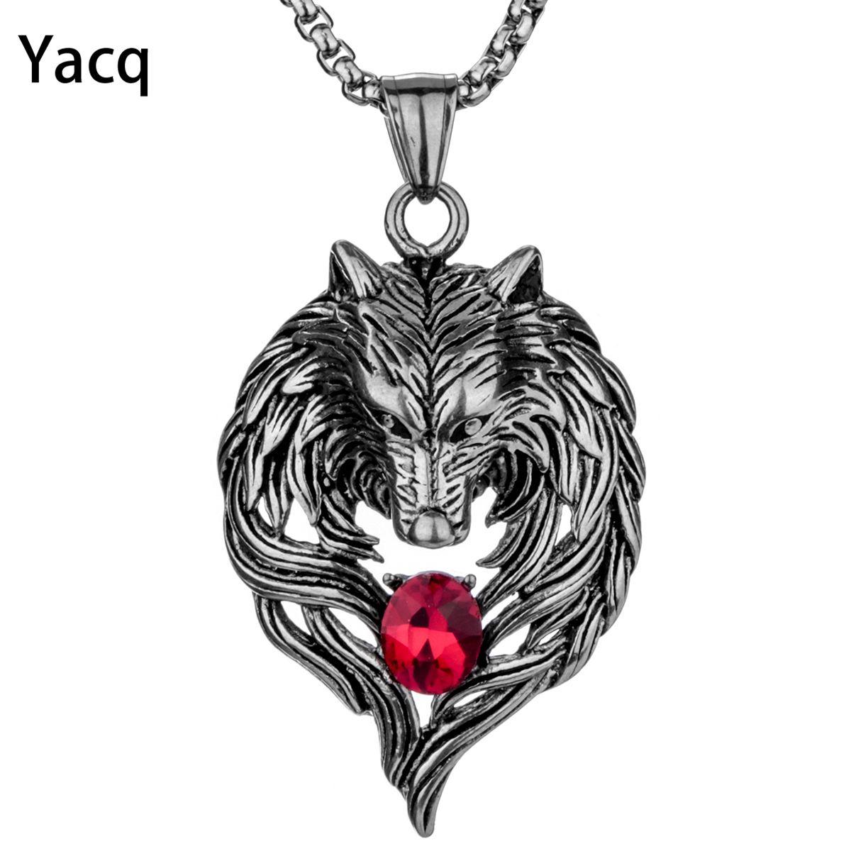 Yacq Wolf collier en acier inoxydable pour hommes femmes pendentif chaîne Biker bijoux cadeau fête des pères papa lui sa maman livraison directe GN41