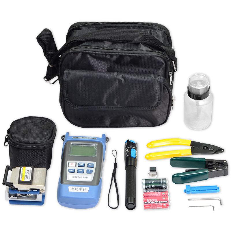 FTTH Tool Kit Fibra Optica with FC-6S Fiber Optic Cleaver and Laser VFL Power Meter 1mW Visual Fault Locator Fibre Wire Stripper