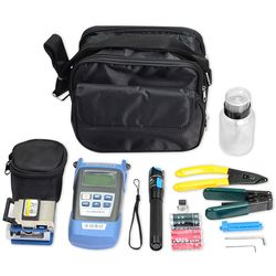 Kit de herramientas de fibra óptica FTTH con fc-6s Fibra Cleaver y medidor de energía óptica 1 MW localizador visual cable stripper