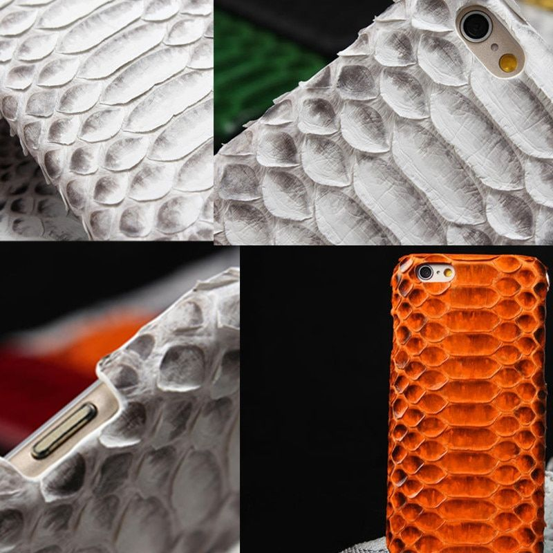 Python Skin Leather Case for iphone 7 7p 8plus cover hard 8 plus Real Genuine Snake Leather Case Coque for iphone X Luxury
